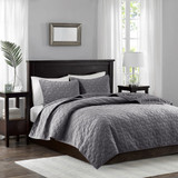 Harper Soft Grey Velvet Coverlet Set - Queen Size
