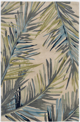 Ivory Montego Palm Tropical Wool Area Rug