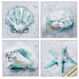 Teal Beach Shells and Starfish Art - Set of 4