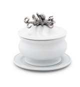 Stoneware Covered Bowl with Polished Octopus