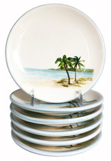 Palm Breezes Canape' Plates - Set of 6 | Caron's Beach House