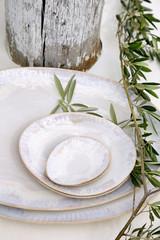 Brisa Salt and Sea Oval Plates stack