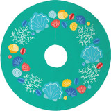 A bright collection of seashells circles this aqua Beachcomber Christmas Tree Skirt. A fun way to add a coastal twist to your Christmas!