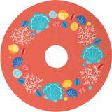 This coral Beachcomber Christmas Tree Skirt is the bold beachy fun your holiday is needing!