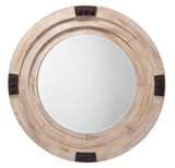 Fremont Round Mirror in White Washed Wood