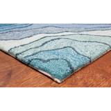 Blue Tide Water Indoor-Outdoor Area Rug corner + pile