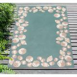 Capri Seashell Border Aqua Rug deck image