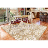 Coral Branch Tan Carmel Rug room view 1