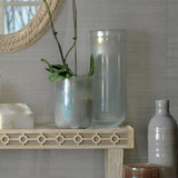 Large Vapor Vase in Metallic Opal Glass shown with small vase