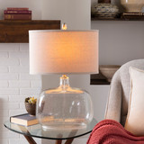 Bentley Clear Seeded Glass Cottage Lamp light on