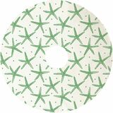 White and Green Starfish Tree Skirt