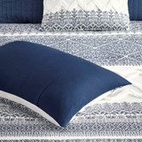 Malibu Boho Navy and White Printed Duvet Set - shams detail