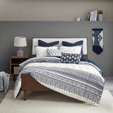 Malibu Boho Navy and White Printed Duvet Set - King