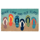 Waterline Blue Peace Love and Flip Flops Coir Door Mat
