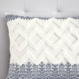 Malibu Boho Navy and White Comforter Set - Queen sham close up