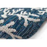 Coral Border Navy Blue Indoor-Outdoor Rug roll