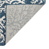 Coral Border Navy Blue Indoor-Outdoor Rug backing