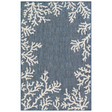 Coral Border Navy Blue Indoor-Outdoor Rug