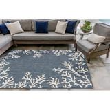 Coral Border Navy Blue Indoor-Outdoor Rug patio view
