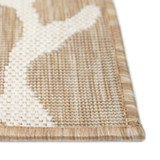 Coral Border Sand and Ivory Indoor-Outdoor Rug edge close up