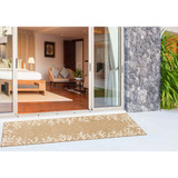 Coral Border Sand and Ivory Indoor-Outdoor Rug runner view