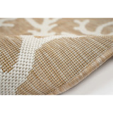 Coral Border Sand and Ivory Indoor-Outdoor Rug roll