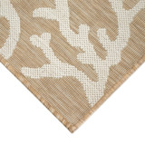 Coral Border Sand and Ivory Indoor-Outdoor Rug corner close up 1