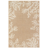 Coral Border Sand and Ivory Indoor-Outdoor Rug