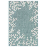 Coral Border Aqua Blue Indoor-Outdoor Rug