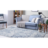 Boho Batik White and Blue Cyprus Rug room view 1