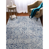 Boho Batik White and Blue Cyprus Rug room view 2