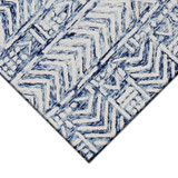 Boho Batik White and Blue Cyprus Rug corner close up