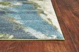 Turquoise Abstract Watercolors Rug  corner