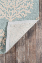 Blue and Ivory Coral Garden Area Rug backing