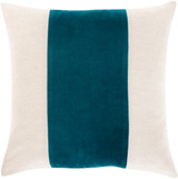 Mystic Teal Striped Velvet 20 x 20 Pillow