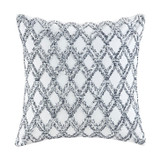 Malibu Navy and White Diamond Tufted Pillow