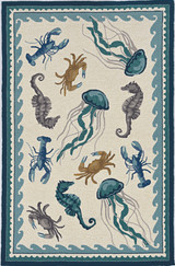 Harbor Teal Beach Life Indoor-Outdoor Rug