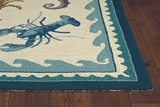 Harbor Teal Beach Life Indoor-Outdoor Rug  corner and pile image