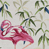Tropical Pink Flamingo Hand-Hooked Rug close up pattern