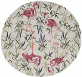 Tropical Pink Flamingo Hand-Hooked Rug round version