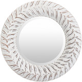 White-Washed Tanu Round Mirror