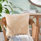 Sand and Ivory Shell Printed Pillow room view