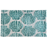 Aqua Scallop Shells Accent Rug small size
