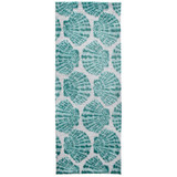 Aqua Scallop Shells Accent Rug longer size