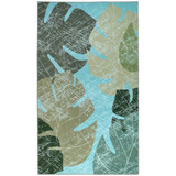 Vintage Tropical Leaves Area Rug