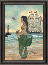 Mermaid with a Tattoo Framed Art - Side View
