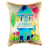 Key West Palm Blue Hut Pillow