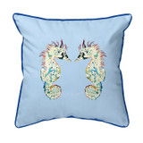 Betsy's Seahorses Light Blue Background Large Corded Indoor-Outdoor Pillow 18x18