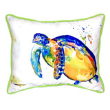 Blue Sea Turtle II Large Indoor-Outdoor Pillow