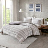 Colby Harbor Grey Stripe Queen Duvet Set